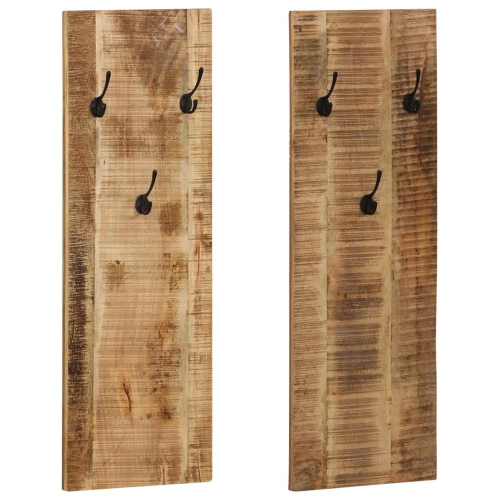 Wieszaki ścienne na płaszcze, 2 szt., drewno mango, 36x110x3 cm