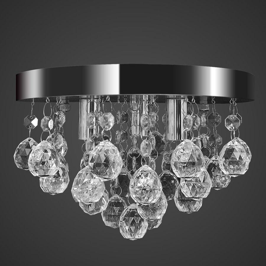 Wisząca lampa sufitowa z kryształkami, chromowa
