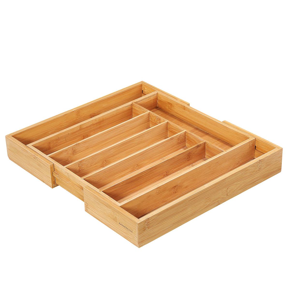 wkład na sztućce, rozsuwany, 34,5-47,5 x 40,5 x 6 cm, bambus