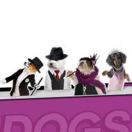 Zakładki do książek 4 szt. Dancing Dogs Mustard psy