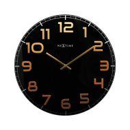 Zegar ścienny 30 cm Nextime Classy czarno-miedziany