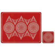 Zestaw 4 szt. podkładek 10x10cm Ladelle Oriental czerwony