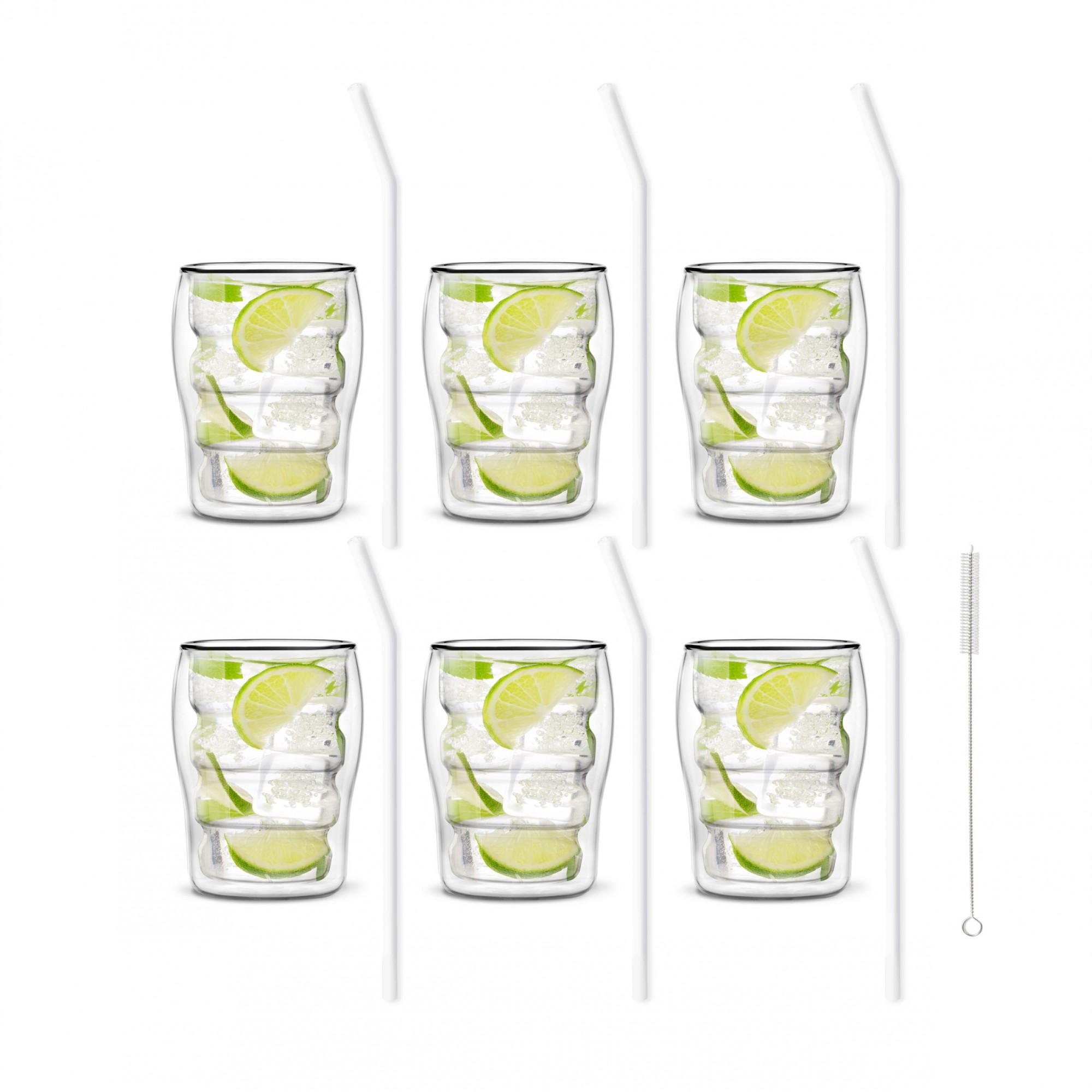 Zestaw 6 szklanek Bolla 300ml i 6 słomek szklanych 23cm białych 7015