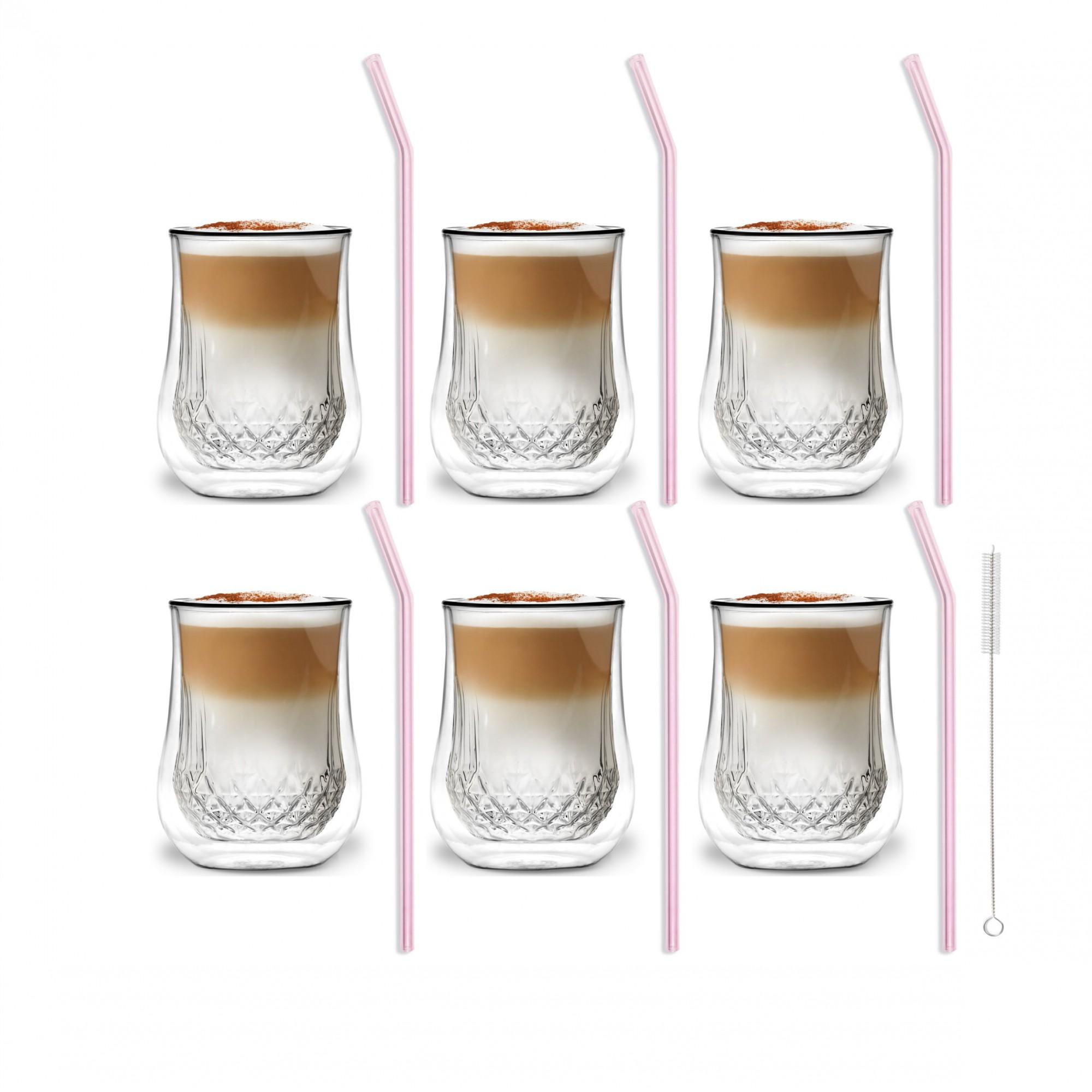 Zestaw 6 szklanek Diamante 300ml i 6 słomek szklanych 23cm różowych 7053