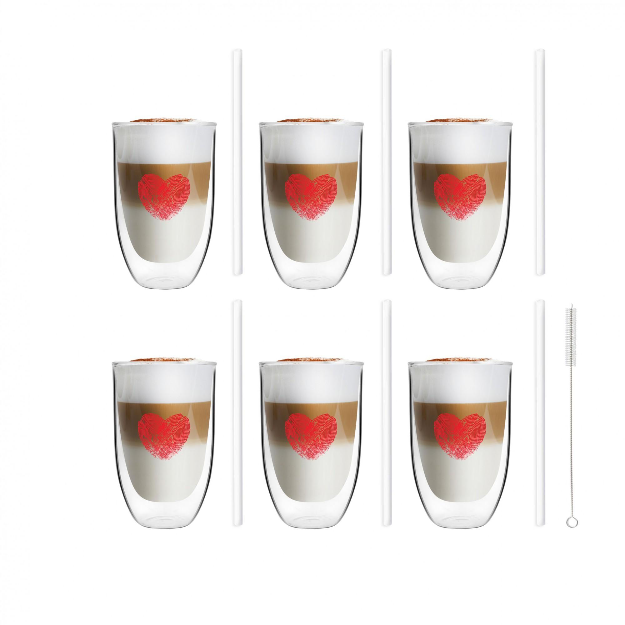 Zestaw 6 szklanek Vita Heart 300ml i 6 słomek szklanych 20cm białych 7220