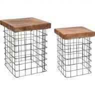 Zestaw stołków Square 38x30x30 cm D2 Rize naturalny
