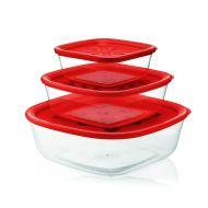 Zestaw 3 pojemników kuchennych 570ml/1,4l/2,95l Forme Casa czerwony